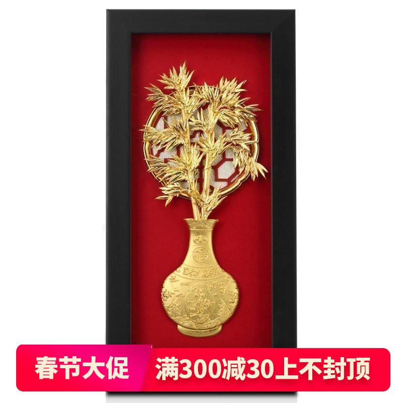 足金金箔立体金箔画节节高升 竹子工艺品 送领导朋友礼物公司定制