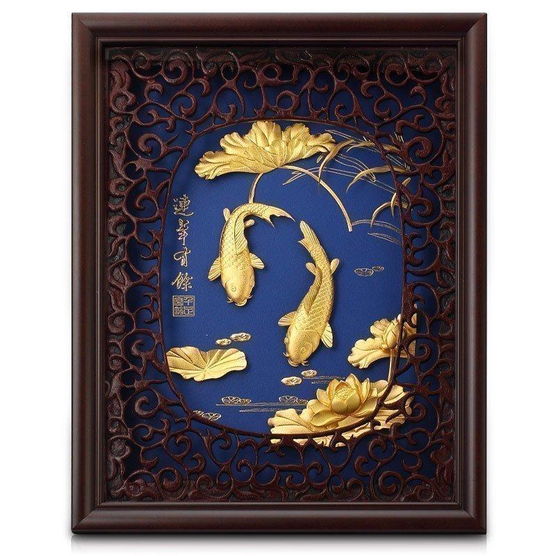 金箔画连年有余3D立体客厅装饰画送领导朋友高档礼物公司定制礼品
