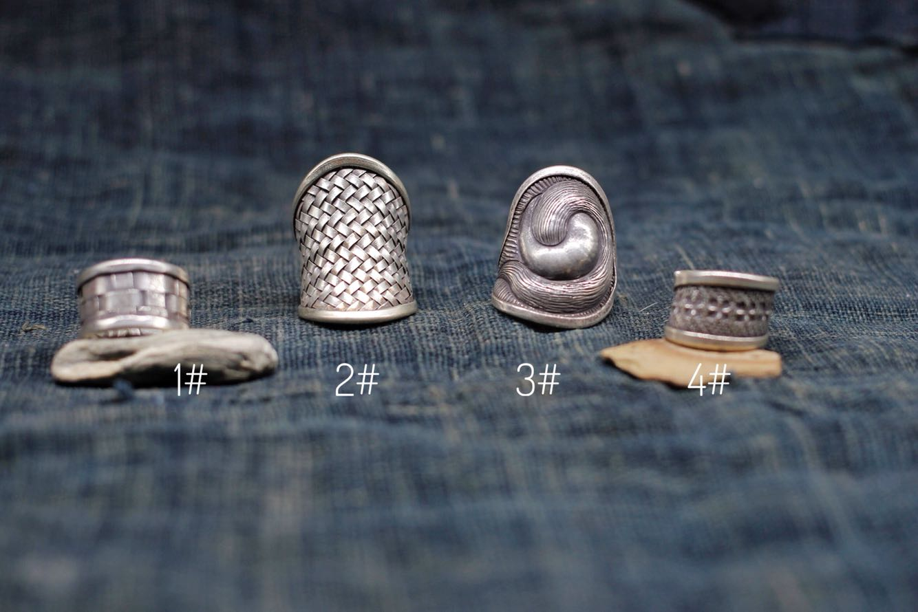 [oak Thailand] hand made silver woven fabric ring in the style of northern Thai tribe in Chiang Mai