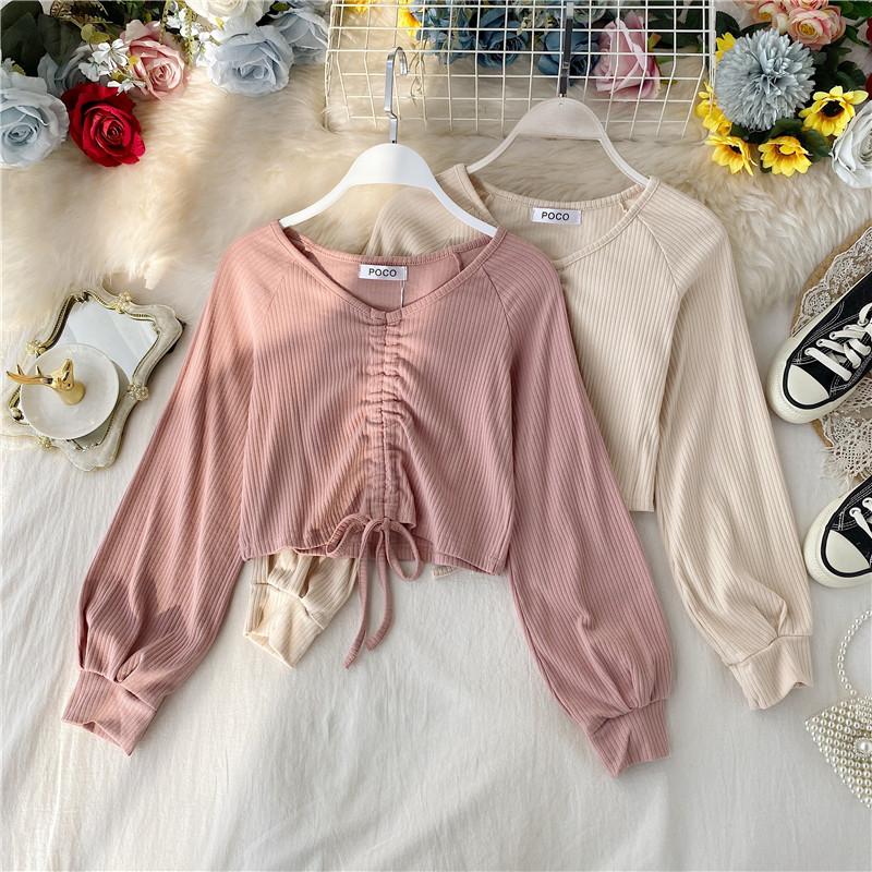 欧美ins性感短款露脐上衣设计感女小众抽绳V领洋气长袖T恤打底衫