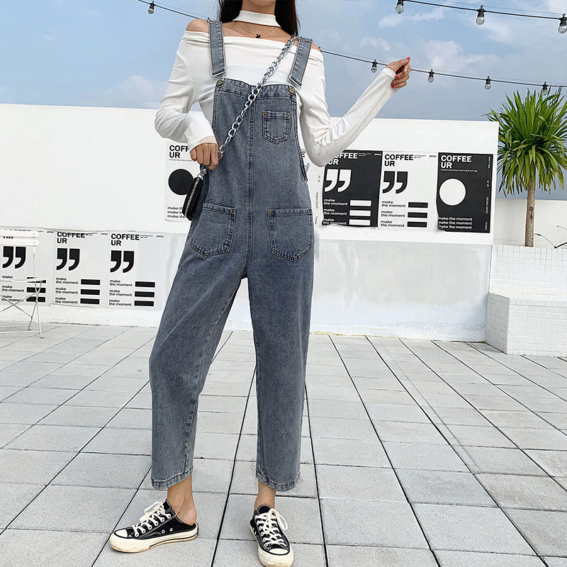 Spring 2020 new net red thin womens loose back belt jeans 2019 small retro 9-point pants