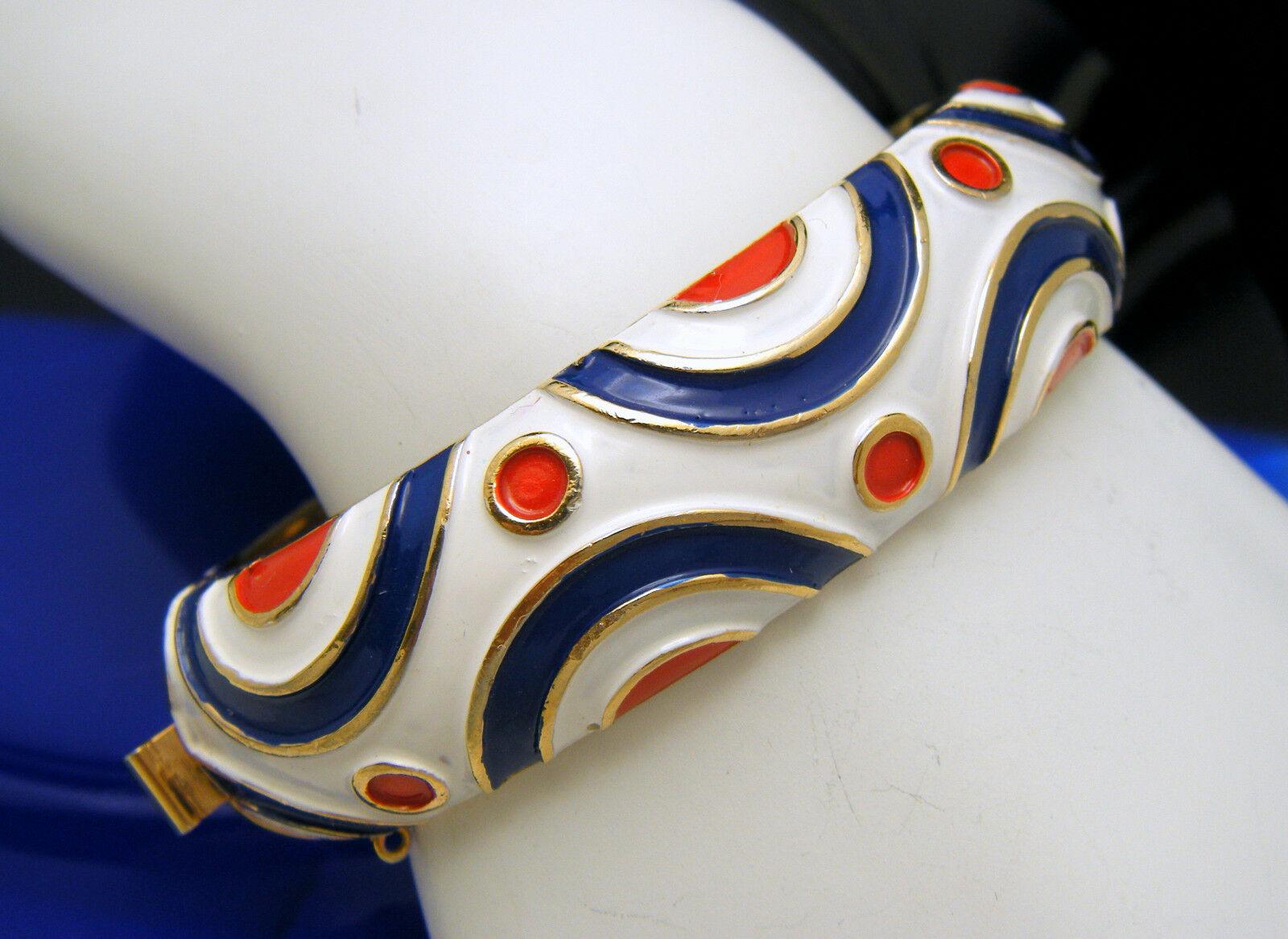 Buy antique Trifari 60s blue enamel Hinge Bracelet and hand ornament, color high-end and elegant girl