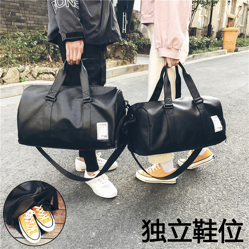 2018 new fashion Pu hand-held travel bag mens and womens single shoulder big bag business waterproof boarding luggage bag with shoes