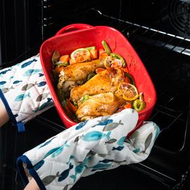 焗饭烤盘陶瓷芝士微波炉烤箱用的烤碗烘焙家用创意菜盘双耳长方形图片