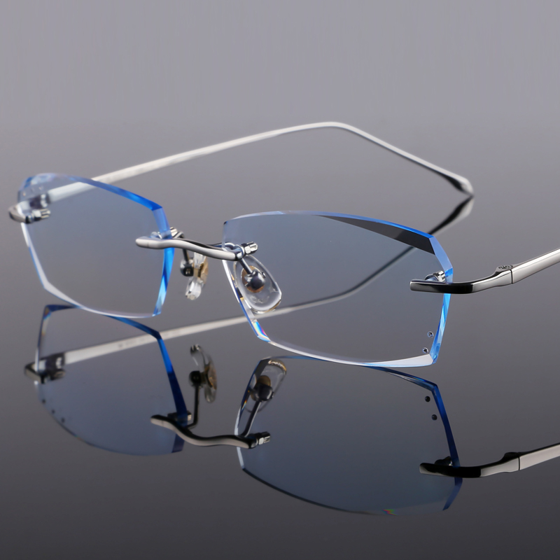 Ultra light pure titanium screw less frameless spectacle frame for mens myopia spectacle frame large face simple fashion color changing glasses