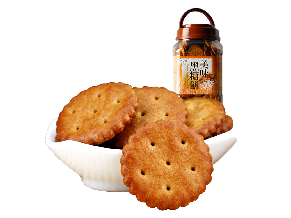 Taiwan imported safe taste black sugar biscuit breakfast biscuit snowflake crisp raw material delicious leisure 365g canned