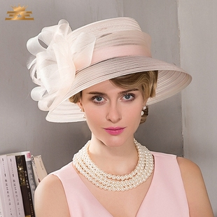 EE in spring new European and American fashionable gauze net hat children England London graceful width eave ceremonial hat 1003