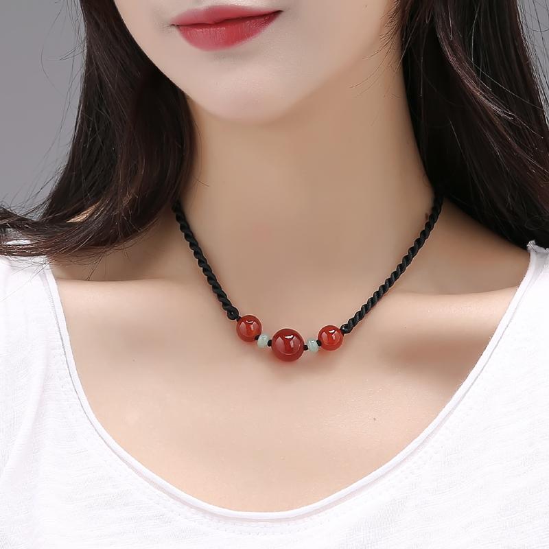 锁骨链女短款百搭水晶项链民族风红玛瑙脖子装饰品简单颈链中国风