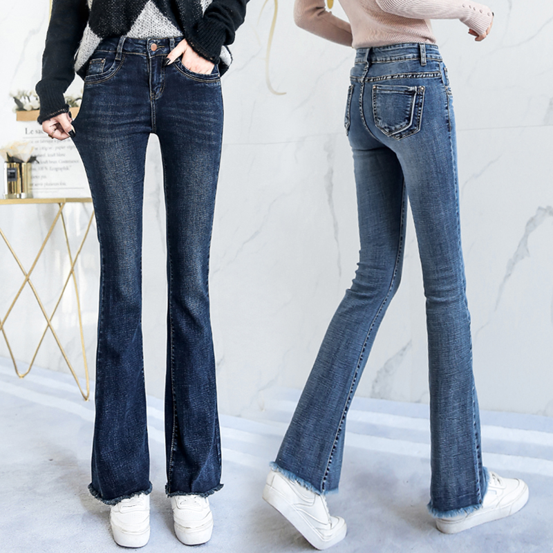 Spring and autumn womens new Korean jeans mid waist flared pants show thin elastic large buttock lifting micro flared womens pants
