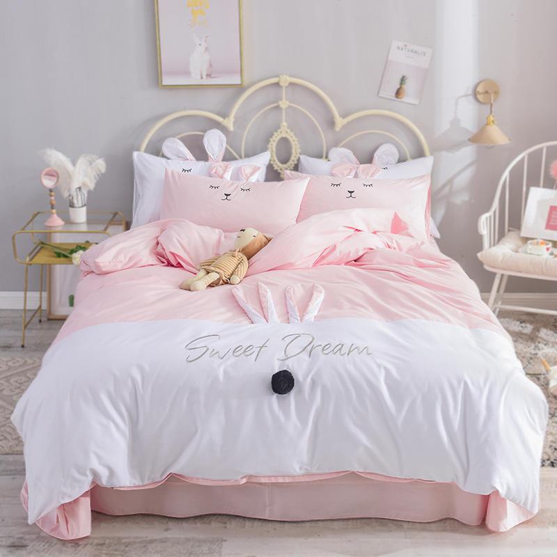 纯棉四件套公主风女孩床品粉色少女被套床单可爱儿童三件套床笠春