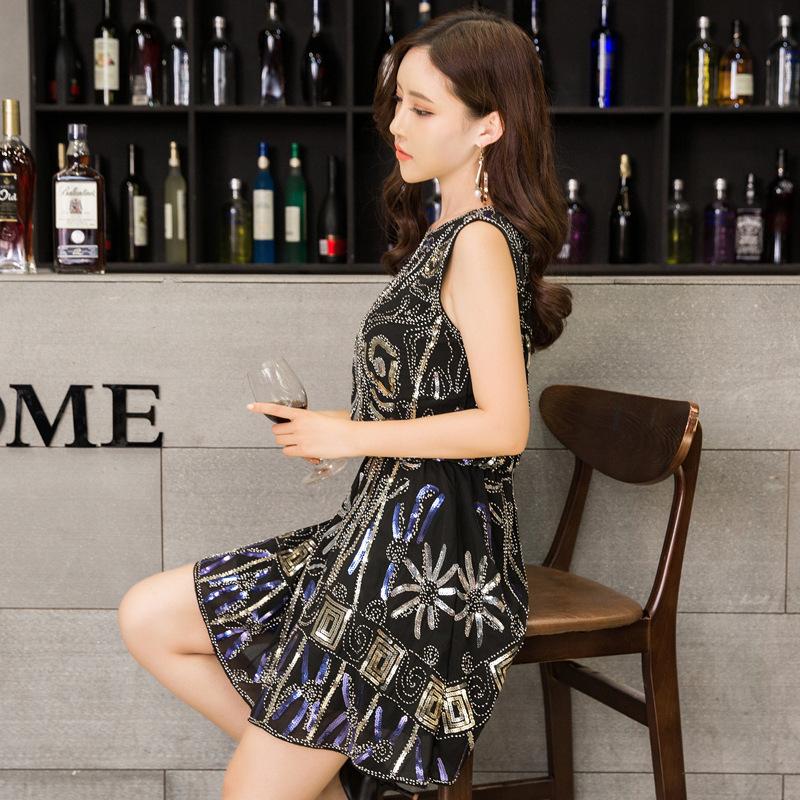 新款优雅名媛女装晚装礼裙品牌聚会奢华时尚露背亮片小礼服连衣裙