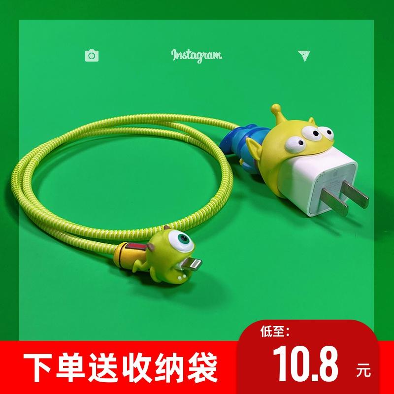 苹果 11保护套咬一口头保护绳数据线