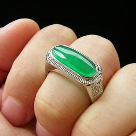 翠色阳绿潮男士戒指镀镀金镶嵌 祖母绿碧玉玉石戒面金镶玉扳指