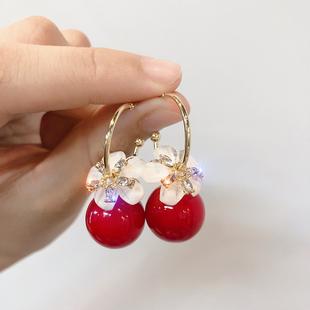 925银针高级感耳圈韩国时尚珍珠锆石花朵耳坠气质长款耳环耳饰女图片