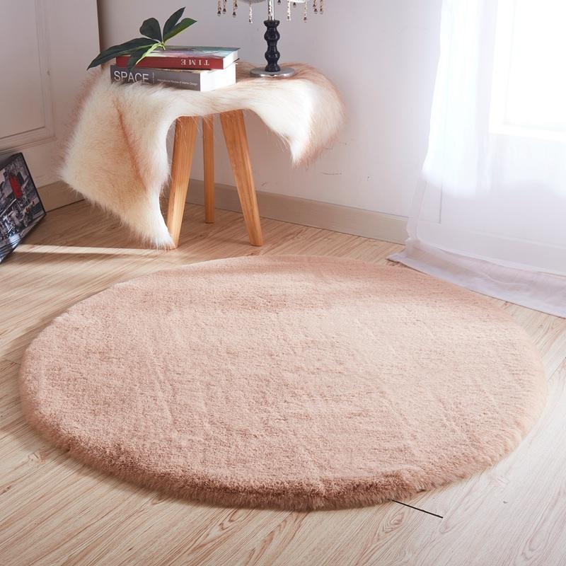 迪其尔毛绒圆形地毯地垫仿兔毛电脑椅子毛毛圆地毯卧室床边毯定制