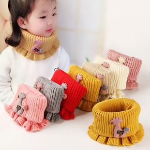 毛线针织宝宝围脖冬季儿童防风脖套男孩女孩围巾保暖舒适儿童脖套图片