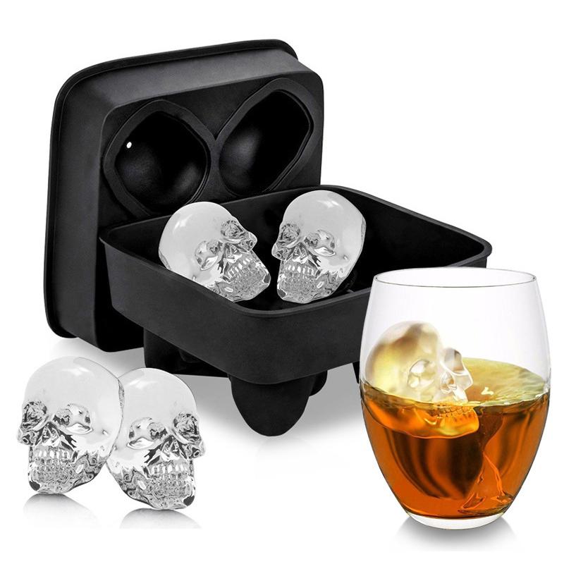 硅胶骷髅冰模威士忌冰块模具制冰盒酒吧家居冻冰格diy冰果制冰器