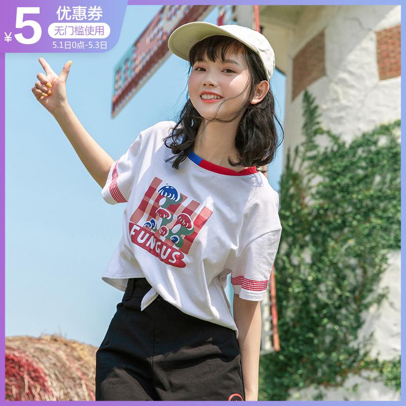 布衣酱2019夏装新款日系短袖女宽松上衣半袖t恤夏季学生打底衫ins