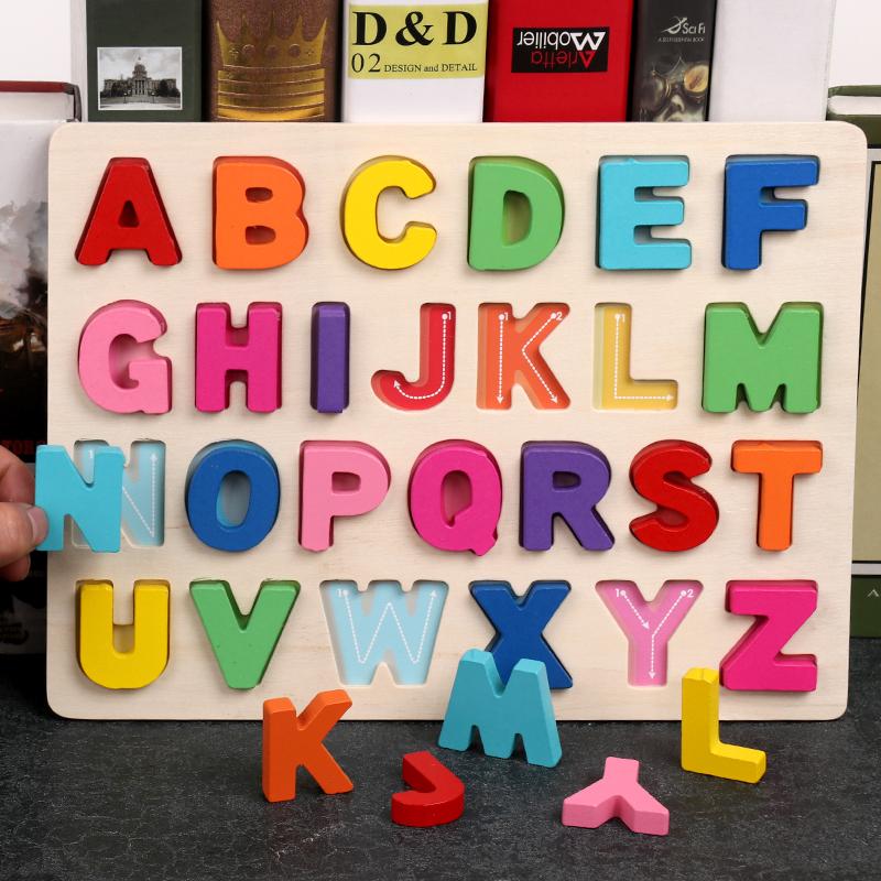 儿童数字母认数配对早教手抓板玩具益智宝宝积木英文字母幼儿拼图