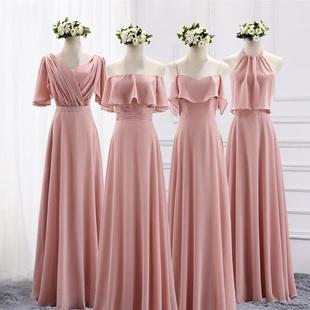 闺蜜女连衣裙晚礼服 伴娘服长款 2021新款 伴娘团礼服姐妹裙粉色修身