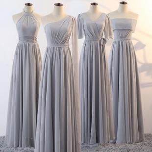 伴娘服长款灰色演出年会女主持人晚礼服姊妹裙显瘦姐妹裙伴娘礼服