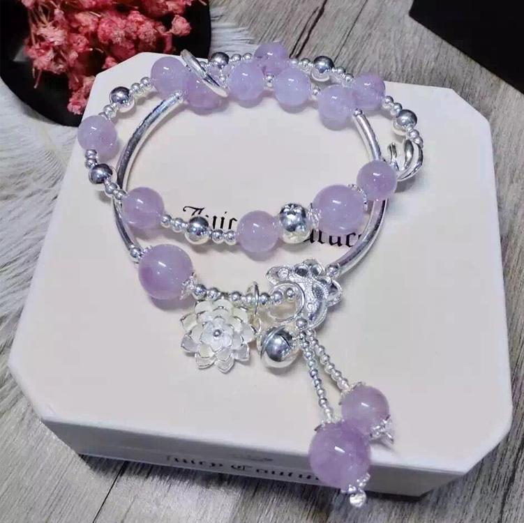 薰衣草紫水晶粉水晶海蓝宝手链女韩版手串多层 925银饰品生日礼物