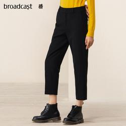 播2019秋冬新款100%羊毛休闲裤锥形毛呢裤女DDM4KD323跟随的影像
