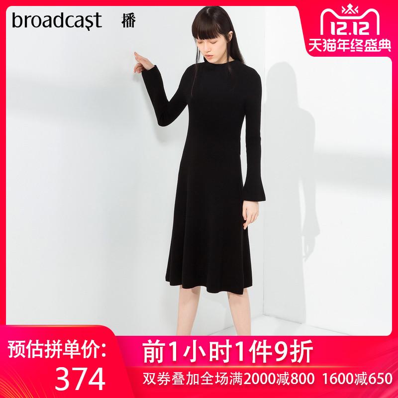 【羊毛100%】播 冬装新款中长款修身收腰针织连衣裙女BDL4L740
