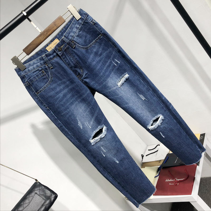 2020 new BF boyfriends style loose high waist Korean RA worn out jeans womens pants cropped pants big size
