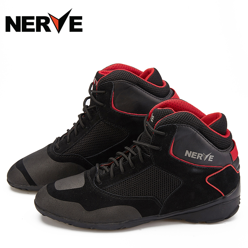 NERVENEV Summer Motorcycle Riding Boots Men's Air-permeable Locomotive Riding Shoes Racing Shoes Equipped with Four Seasons