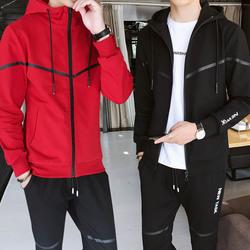 一套男装卫衣服外套春秋季高中学生韩版潮流帅气休闲运动三件套装