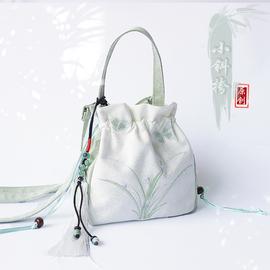 夏季新品汉元素流苏绣花仙女女中国风古风帆布手提汉服荷包斜挎
