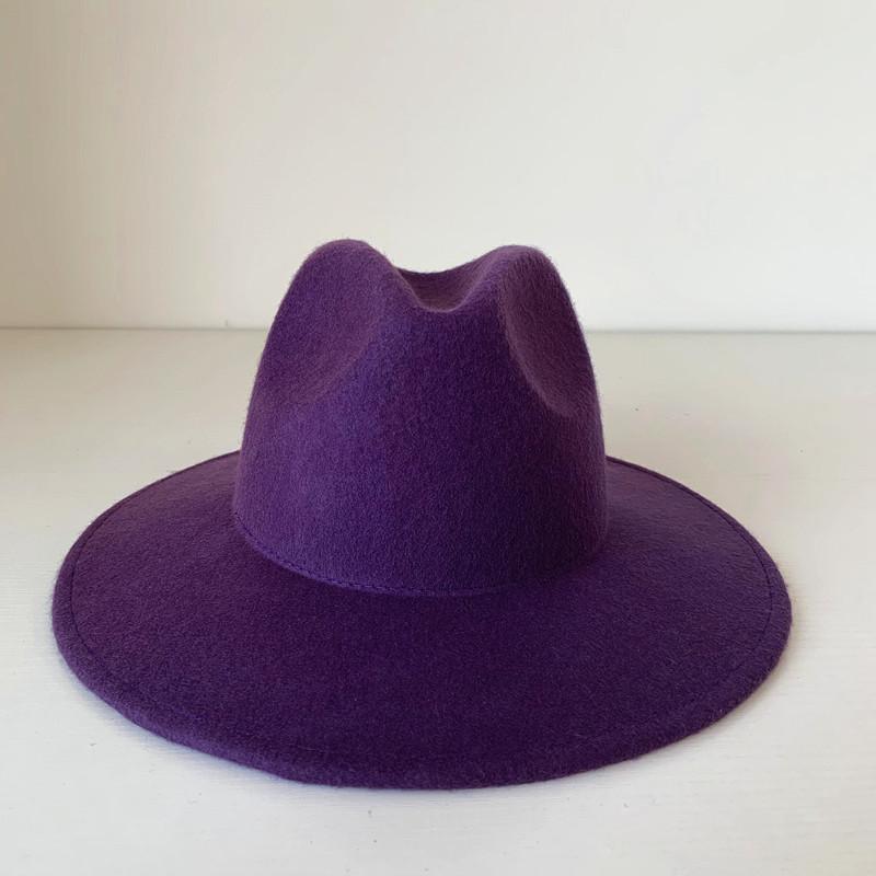 Rose purple temperament autumn and winter hat childrens wide brim wool hat go shopping versatile