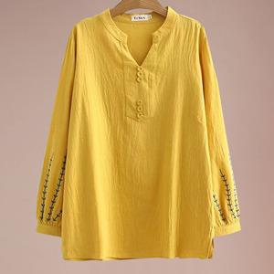 中年女装2020早秋长袖绣花小衫上衣大码宽松妈妈200斤显瘦T恤秋装