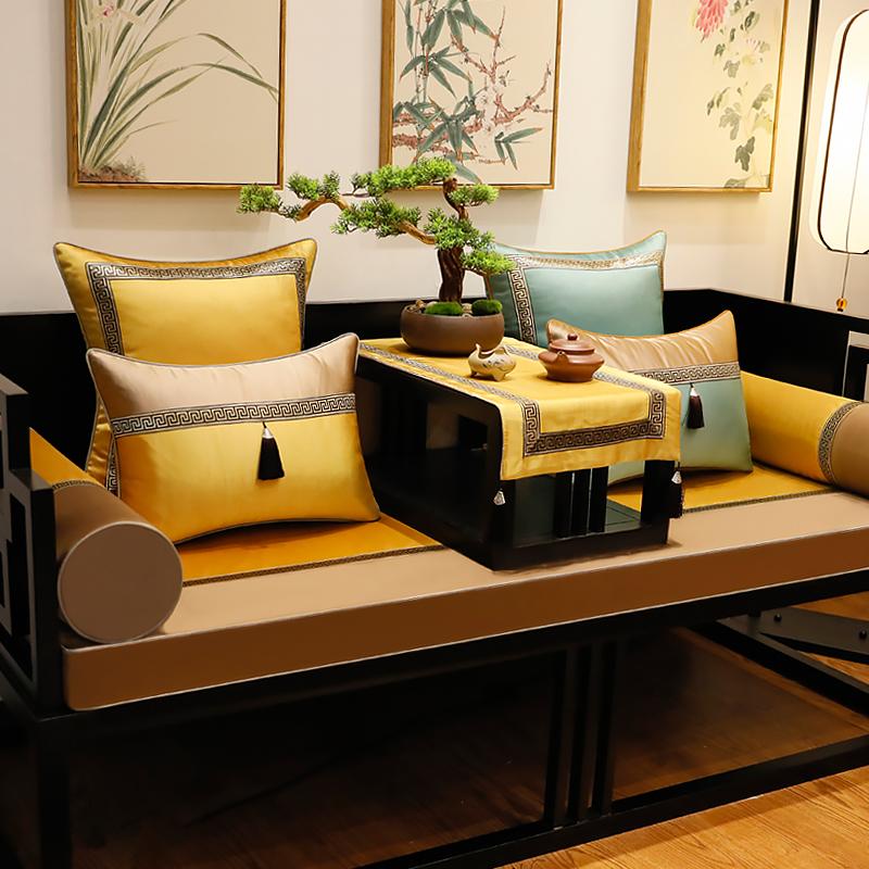纯色回纹红木新中式实木罗汉床坐垫
