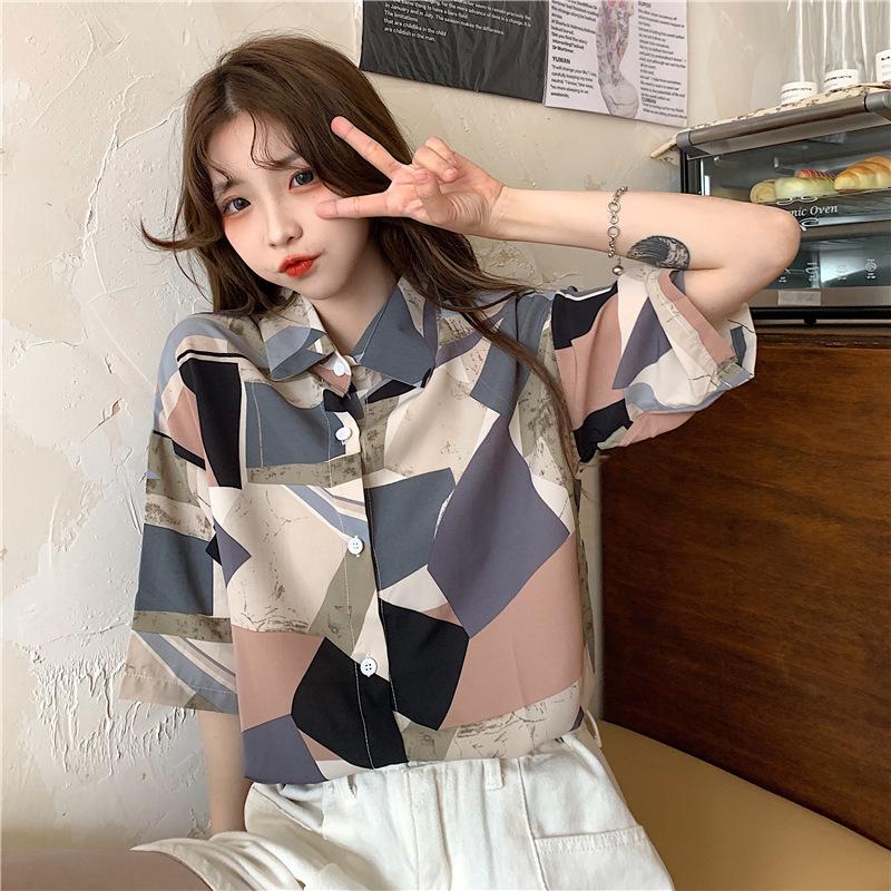 中國代購|中國批發-ibuy99|女裝|印花衬衫女复古设计感小众韩版宽松2021年夏季新款女装短袖衬衣潮