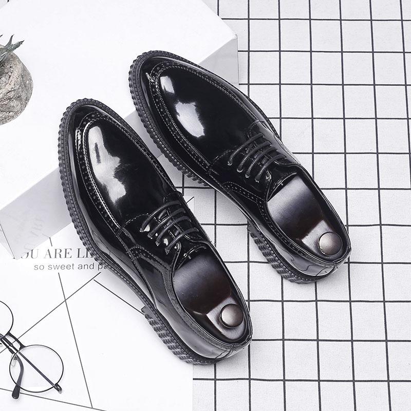 潮鞋韩版男士正装商务休闲皮鞋漆皮系带尖头男鞋英伦黑色小皮鞋男