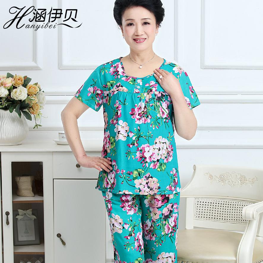 中老年人绵绸睡衣大码妈妈短袖棉绸套装女夏装两件套人造棉睡衣薄