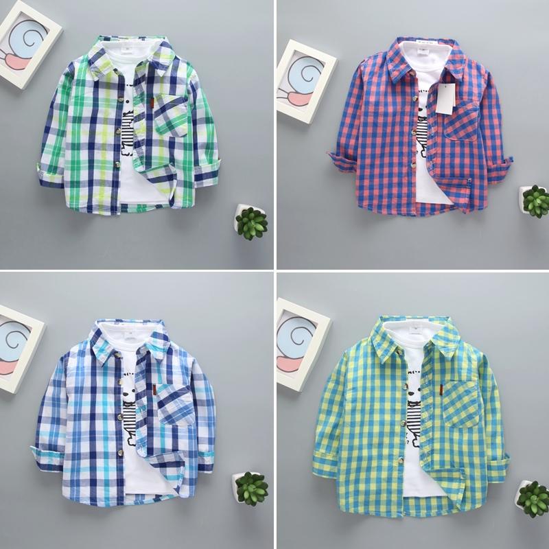 婴幼儿童衬衫春秋季夏装空调衫格子男童长袖薄款女宝宝婴儿衬衣服