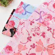 进口纯棉棉布布料印花布 卡通米奇蝴蝶结卡通布甜美公主手工童装
