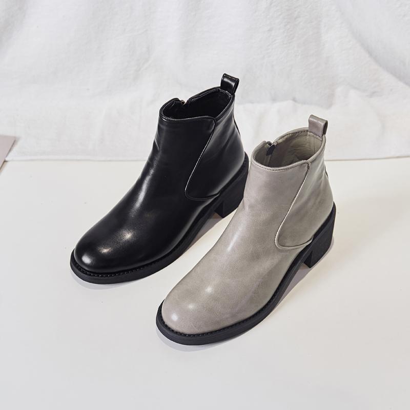 【鞋夫人】靴子女2019秋款高跟网红马丁靴女英伦风复古粗跟短靴潮