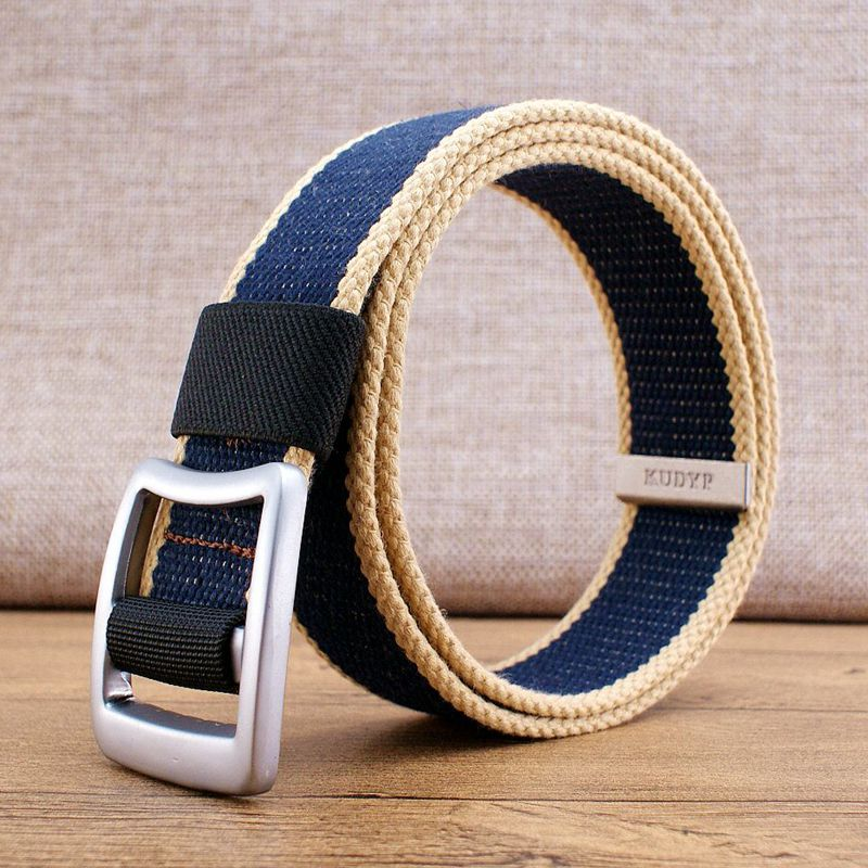 Mens thickened simple canvas belt smooth buckle sports casual belt with long belt woven tactical belt