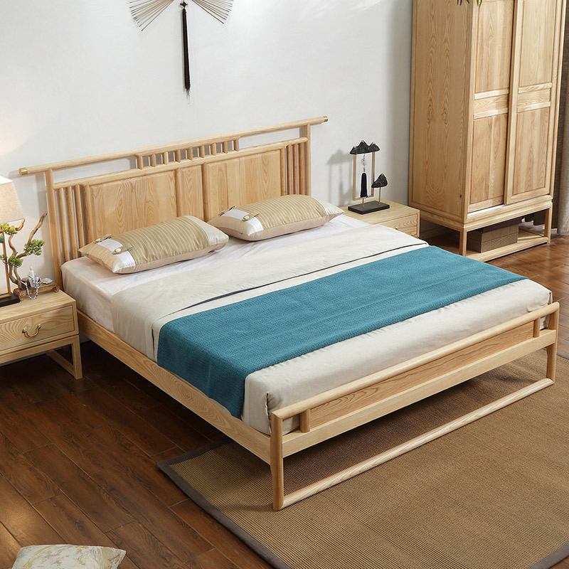 New Chinese style solid wood bed master bedroom 1.8m ash double bed log paint free bed Hotel B & B furniture