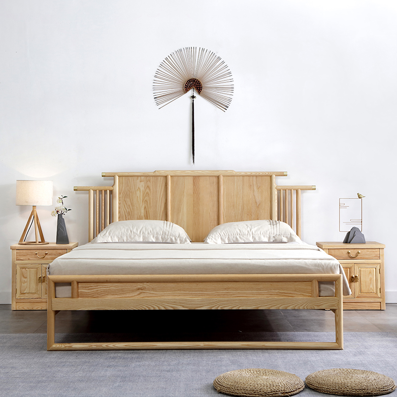 New Chinese style ash wood solid wood bed 1.8m Zen style new Chinese style hotel B & B furniture 1.5m single double bed