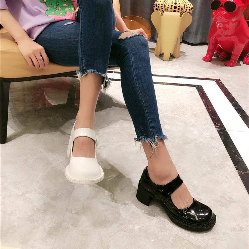 韩版春季漆皮圆头大头方跟低跟鞋玛丽珍鞋ins超火单鞋高跟鞋女鞋