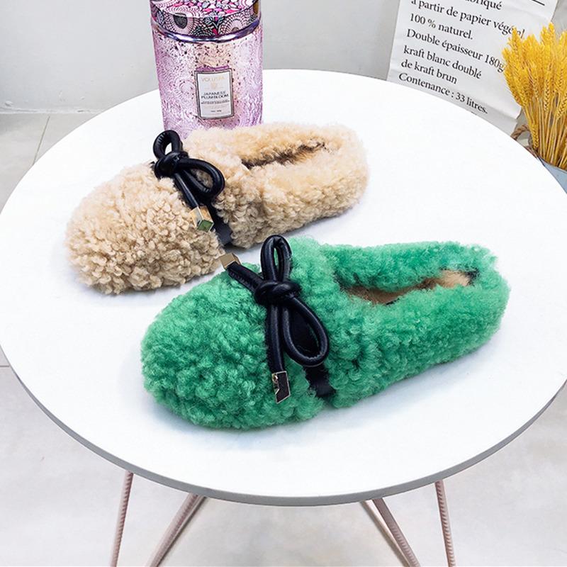 羊羔卷毛毛鞋皮毛一体蝴蝶结兔毛包头穆勒女鞋拖鞋室外穿网红鞋托