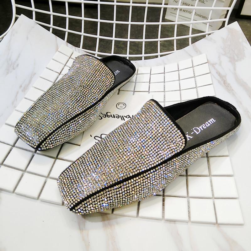 2018 новый горный хрусталь полный алмазов чалма квадратная головка квартира обувной сандалии уход слово торможение шлепанцы бездельник обувной обувь женская обувь