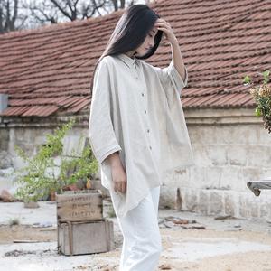 春夏装2020新款蝙蝠袖翻领外衣宽松薄款外搭开衫中国风棉麻外套女