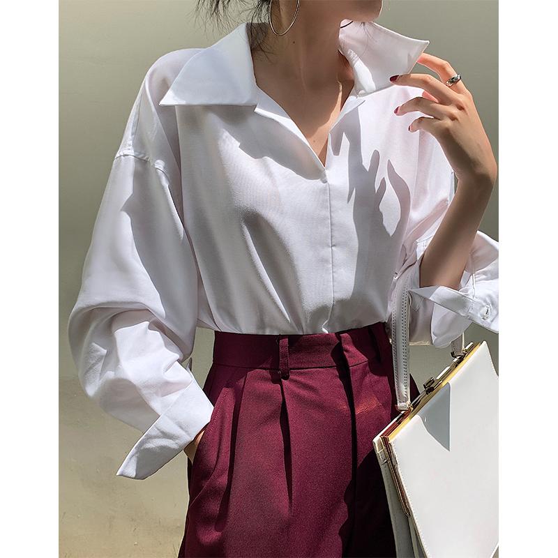 ADA MISS 限量!日本客供进口面料长袖设计感小众宽松白衬衫女秋