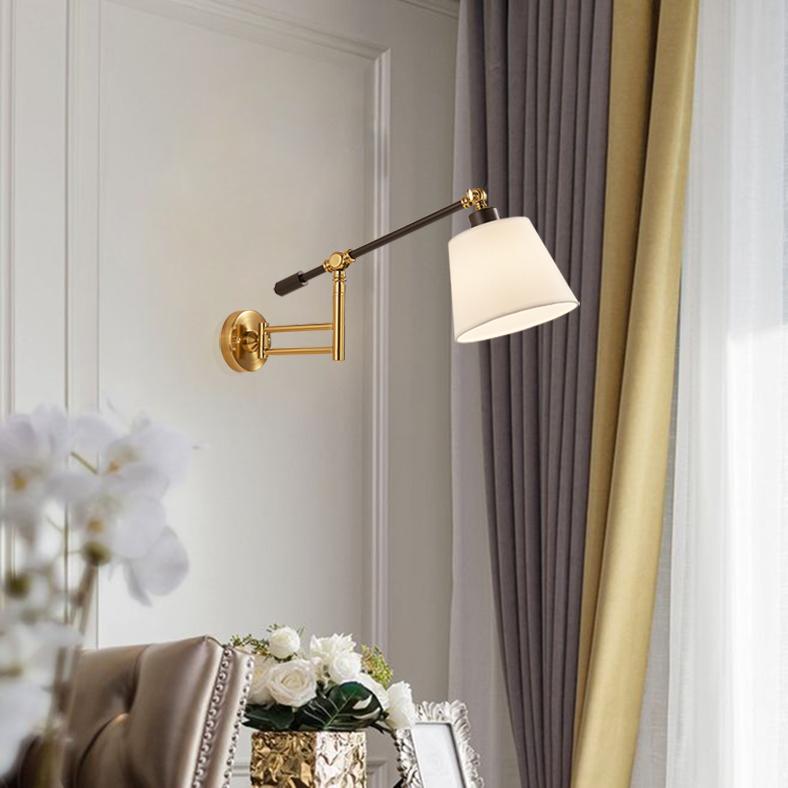 アメリカンフェライト折り畳み式伸縮式アームウォールランプ創意的な個性的な鏡ヘッドランプ寝室のヘッド読書ランプスタンドの照明器具